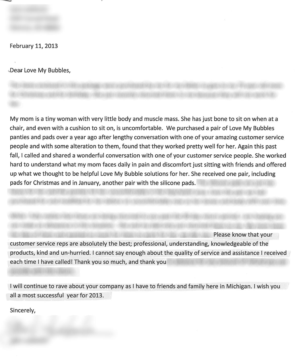 Customer Review Letter