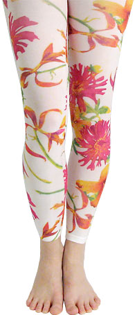 Florida Tropical Patterned Printed Footed Tights bf276b9c795